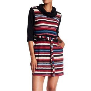 Papillon Belted Striped Sweater Dress sz XL
